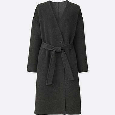 WOMEN DOUBLE FACE COLLARLESS COAT, DARK GRAY, medium