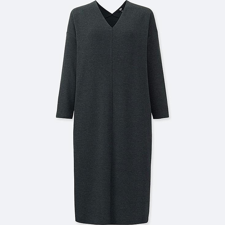 WOMEN LIGHTWEIGHT PONTE 3/4 SLEEVE DRESS