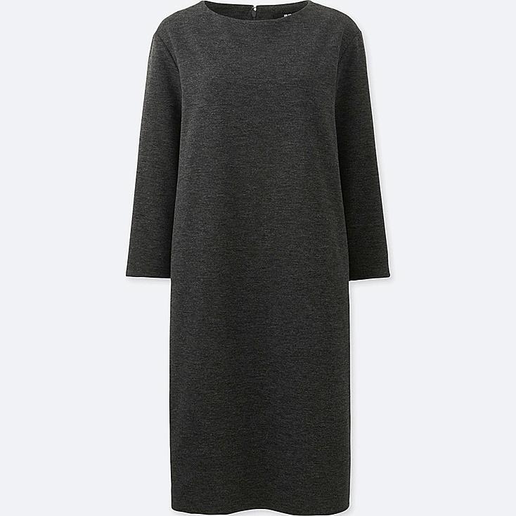 WOMEN CUT AND SEWN SHIFT 3/4 SLEEVE DRESS