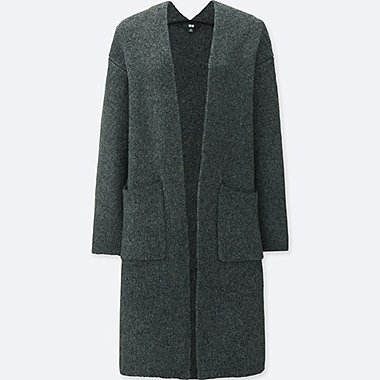 WOMEN TWEED KNITTED LONG SLEEVE COAT, DARK GRAY, medium