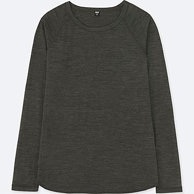 WOMEN WOOL-BLEND CREWNECK LONG-SLEEVE T-SHIRT, DARK GRAY, medium