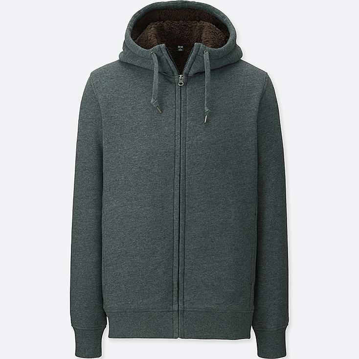 MEN PILE LINED SWEAT LONG SLEEVE FULL-ZIP HOODIE
