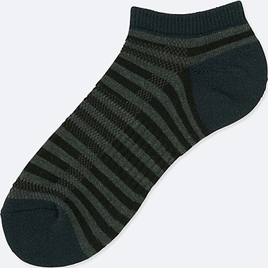 MEN PILE STRIPED SHORT SOCKS, DARK GRAY, medium