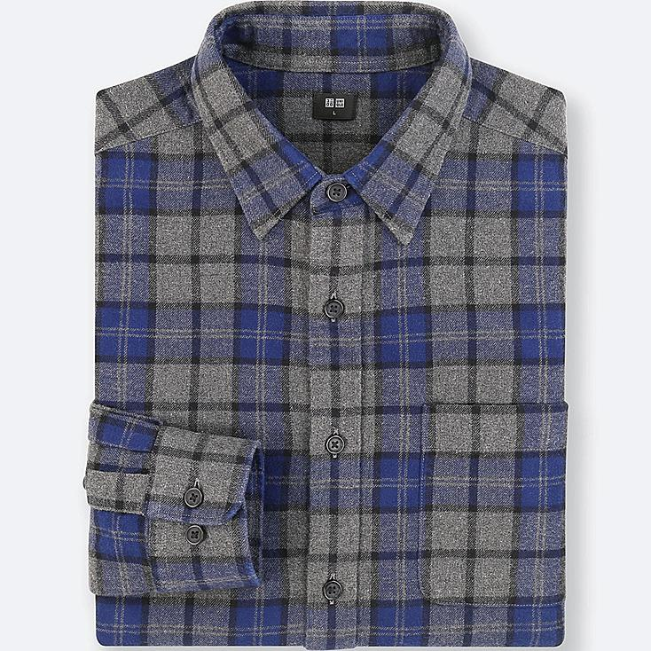 MEN FLANNEL CHECKED LONG-SLEEVE SHIRT, DARK GRAY, large