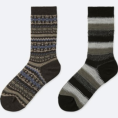 WOMEN HEATTECH FAIR ISLE SOCKS (2 PAIRS), DARK GRAY, medium