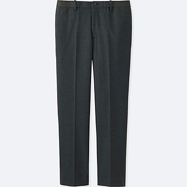 MEN RELAXED ANKLE-LENGTH PANTS (COTTON), DARK GRAY, medium