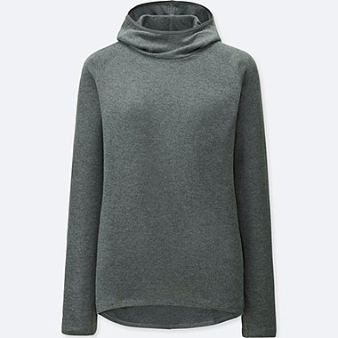 WOMEN HEATTECH STRETCH FLEECE HOODIE, DARK GRAY, medium