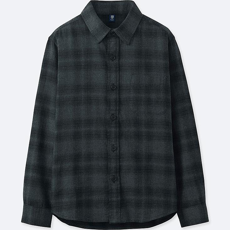BOYS FLANNEL CHECK LONG-SLEEVE SHIRT, DARK GRAY, large