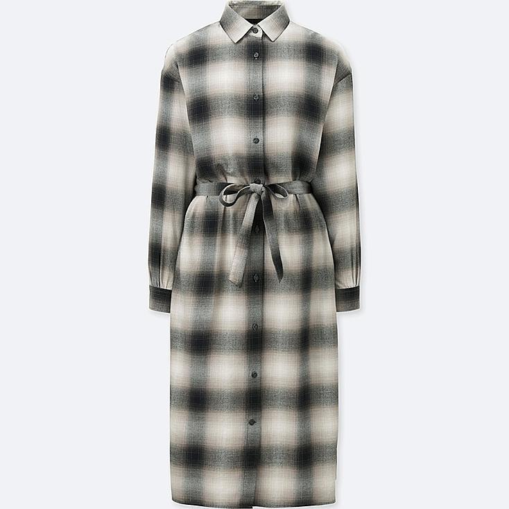 WOMEN FLANNEL CHECKED SHIRT DRESS, DARK GRAY, large