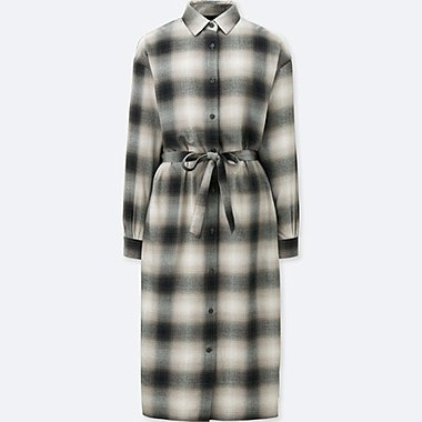 WOMEN FLANNEL LONG SLEEVE SHIRT DRESS