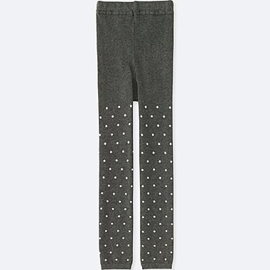 GIRLS KNITTED LEGGINGS, DARK GRAY, medium