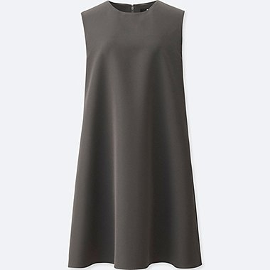 WOMEN DRAPE A LINE SLEEVELESS DRESS