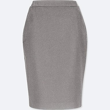 WOMEN HIGH-WAIST WOOL-BLENDED PENCIL SKIRT, DARK GRAY, medium