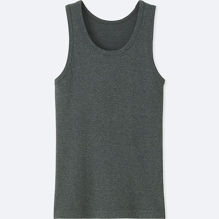 MEN PACKAGED DRY RIBBED TANK TOP, DARK GRAY, large