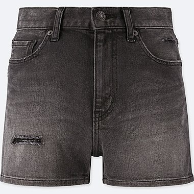 WOMEN HIGH-RISE DENIM VINTAGE SHORTS, DARK GRAY, medium