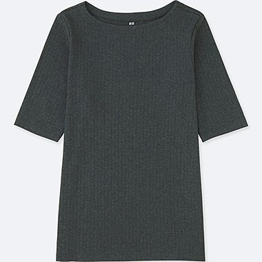 WOMEN RIBBED BOAT NECK HALF-SLEEVE T-SHIRT, DARK GRAY, medium
