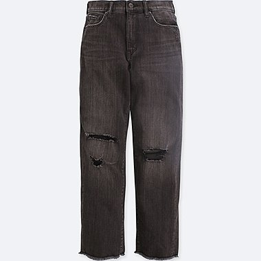 WOMEN HIGH-RISE BOYFRIEND-FIT JEANS, DARK GRAY, medium