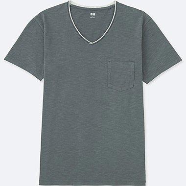MEN WASHED SLUB V-NECK SHORT-SLEEVE T-SHIRT, DARK GRAY, medium