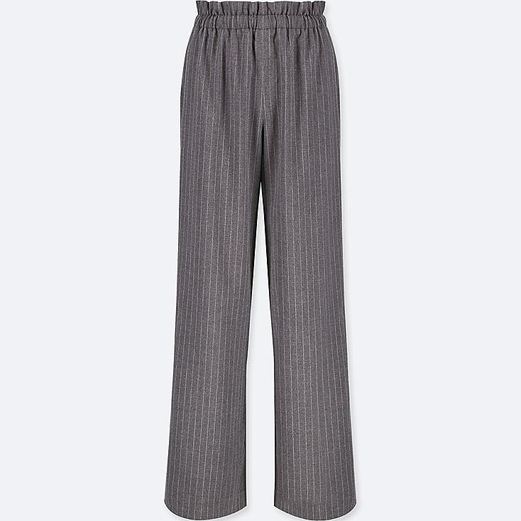 WOMEN HIGH-WAIST GATHERED STRIPE WIDE-LEG PANTS, DARK GRAY, large