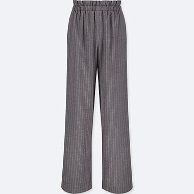 WOMEN HIGH-WAIST GATHERED STRIPE WIDE-LEG PANTS, DARK GRAY, medium