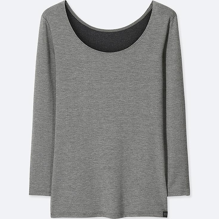 WOMEN HEATTECH EXTRA WARM SCOOP NECK T-SHIRT, DARK GRAY, large
