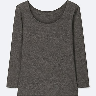 WOMEN HEATTECH SCOOP NECK T-SHIRT, DARK GRAY, medium