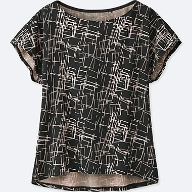 WOMEN SPRZ NY DRY-EX PRINTED SHORT-SLEEVE T-SHIRT (NIKO LUOMA), DARK GRAY, medium