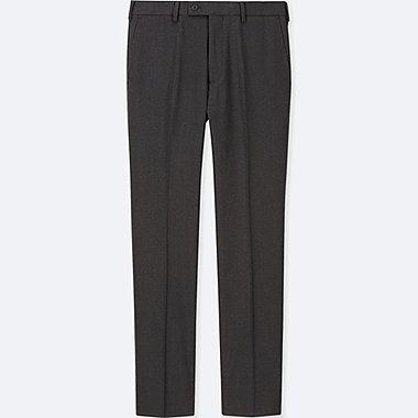 MEN STRETCH WOOL FLAT-FRONT PANTS (ONLINE EXCLUSIVE), DARK GRAY, medium