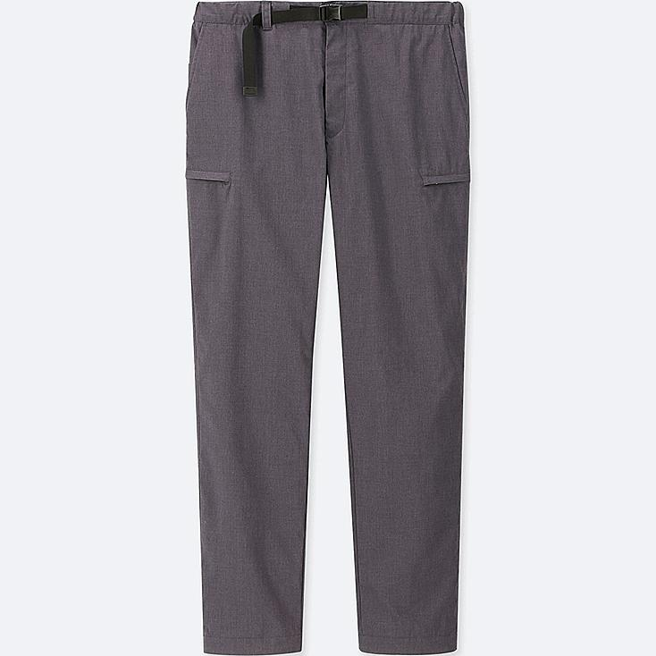 MEN WINDPROOF WARM-LINED PANTS, DARK GRAY, large