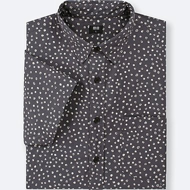 MEN BROADCLOTH PRINTED SHORT-SLEEVE SHIRT, DARK GRAY, medium