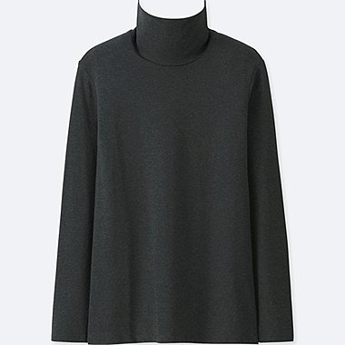 WOMEN COMPACT COTTON TURTLENECK LONG SLEEVED T-SHIRT