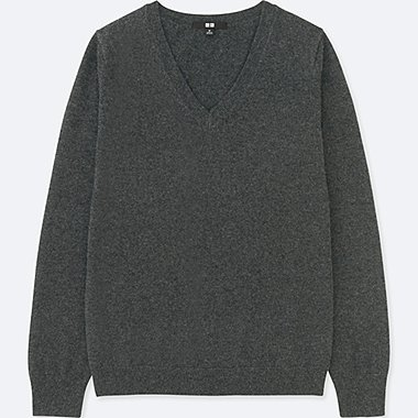 WOMEN CASHMERE V-NECK SWEATER, DARK GRAY, medium