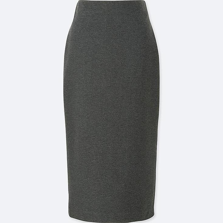 WOMEN PONTE PENCIL SKIRT, DARK GRAY, large