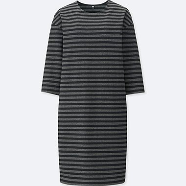 WOMEN STRIPED CREW NECK 3/4 SLEEVED DRESS
