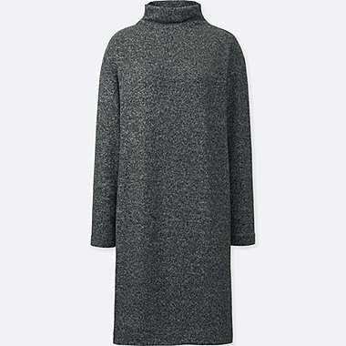 WOMEN SOFT KNITTED FLEECE LONG-SLEEVE DRESS, DARK GRAY, medium