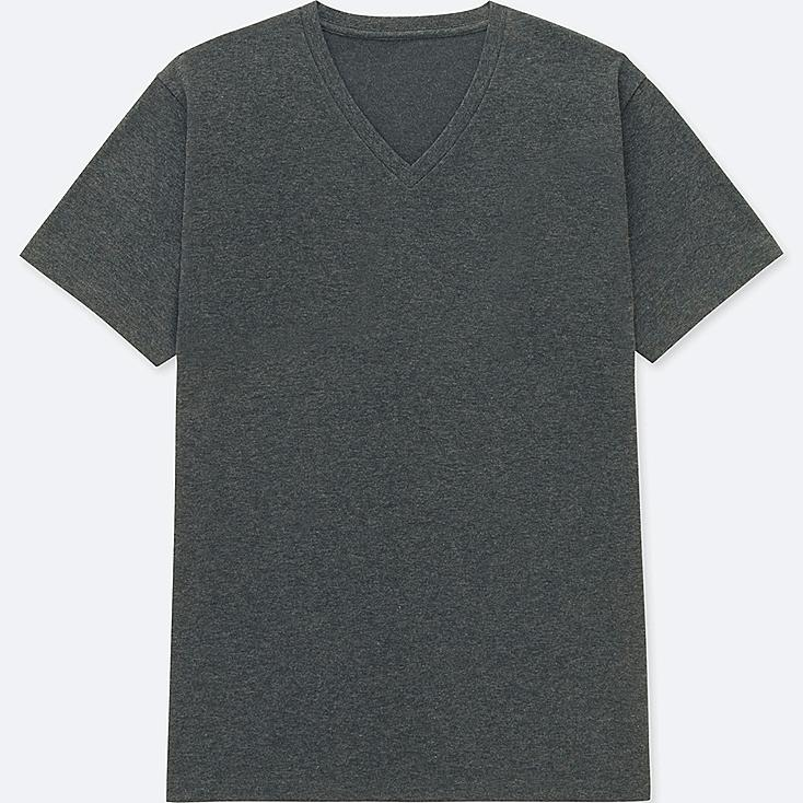 MEN PACKAGED DRY V-NECK SHORT-SLEEVE T-SHIRT, DARK GRAY, large