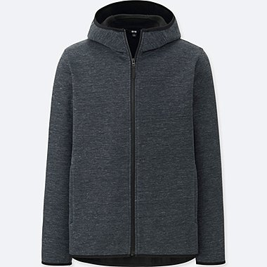 MEN WINDPROOF FLEECE LONG-SLEEVE FULL-ZIP HOODIE (ONLINE EXCLUSIVE), DARK GRAY, medium