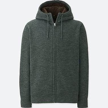 MEN SWEAT FLEECE LINED ZIPPED HOODIE