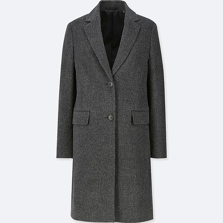 WOMEN CASHMERE BLENDED CHESTER COAT, DARK GRAY, large