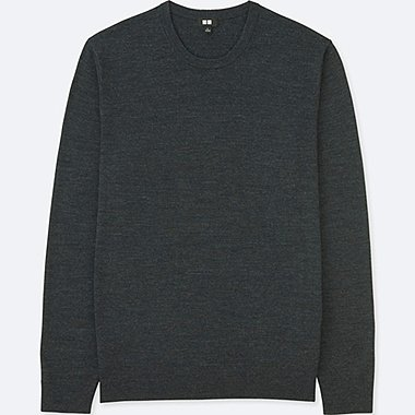 MEN EXTRA FINE MERINO CREW NECK LONG-SLEEVE SWEATER, DARK GRAY, medium