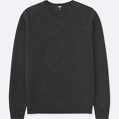 MEN PREMIUM LAMBSWOOL CREW NECK LONG-SLEEVE SWEATER, DARK GRAY, medium