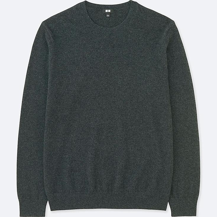 MEN CASHMERE CREW NECK LONG-SLEEVE SWEATER, DARK GRAY, large