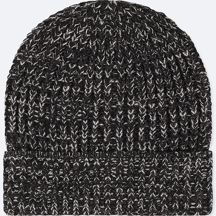 KIDS HEATTECH KNITTED CAP, DARK GRAY, large