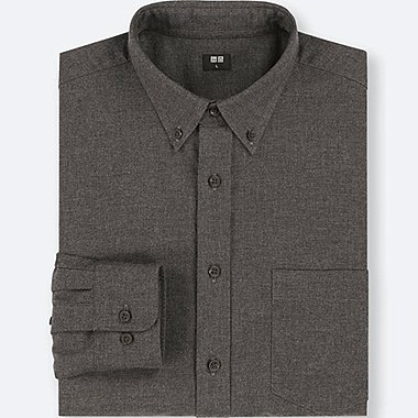 MEN FLANNEL LONG-SLEEVE SHIRT, DARK GRAY, medium
