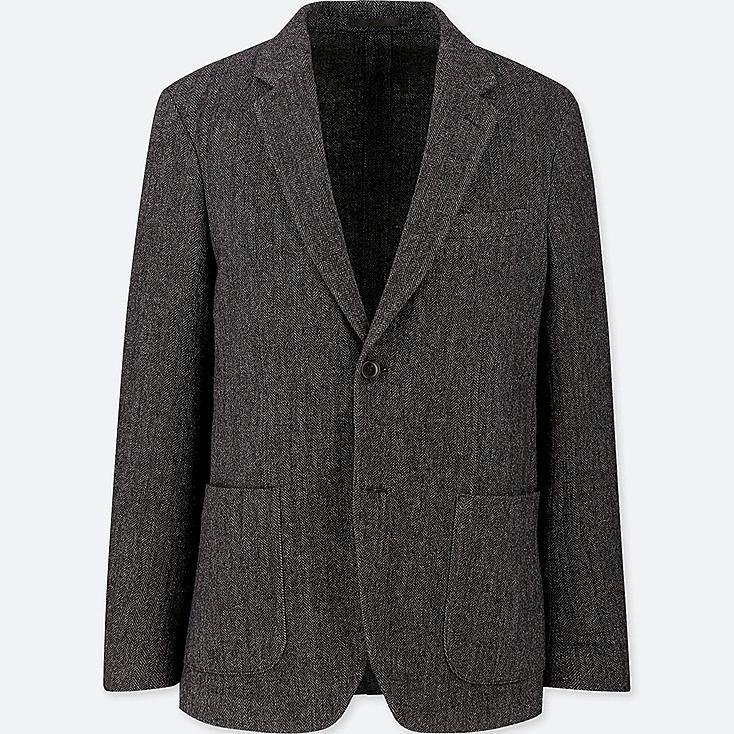 MEN TWEED JACKET, DARK GRAY, large