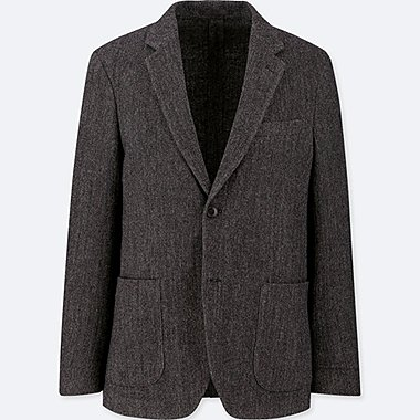 MEN TWEED JACKET, DARK GRAY, medium