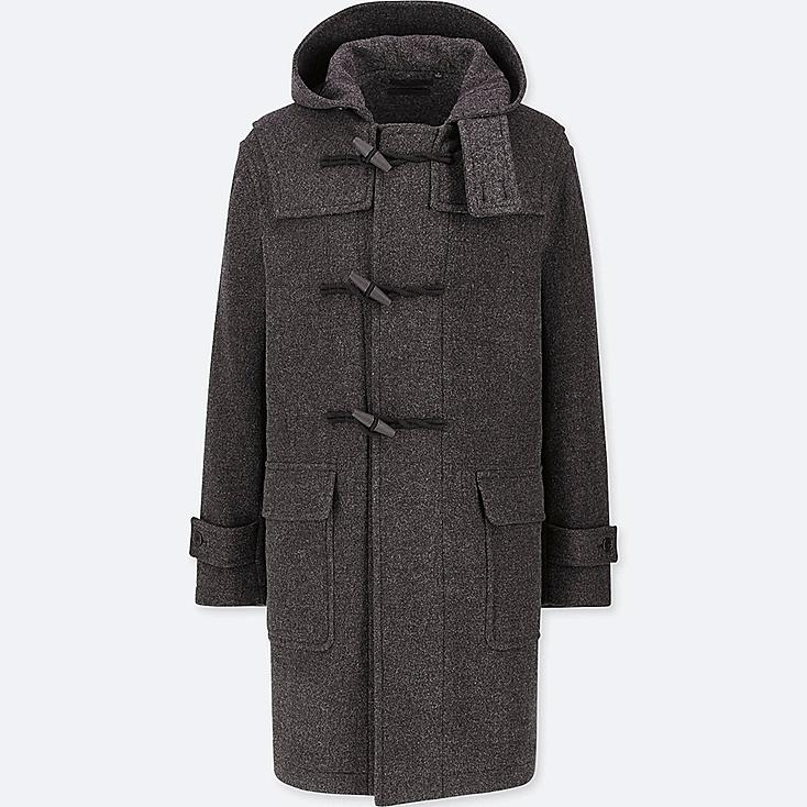 MEN WOOL-BLEND DUFFLE COAT, DARK GRAY, large