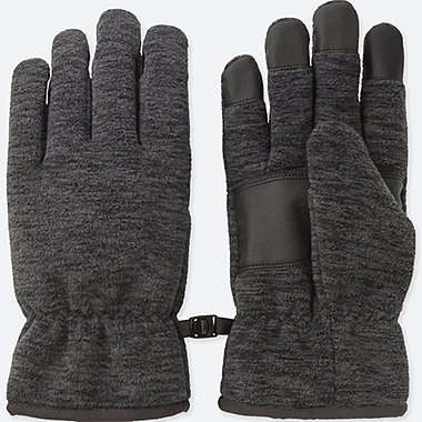 MEN HEATTECH-LINED FLEECE GLOVES, DARK GRAY, medium