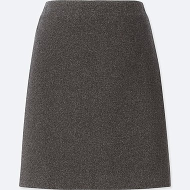 WOMEN WOOL-BLEND HIGH-WAISTED MINI SKIRT, DARK GRAY, medium