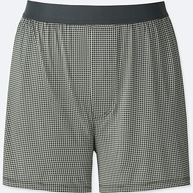 MEN AIRism CHECKED BOXERS, DARK GRAY, medium